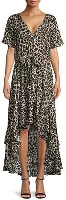 Q&A Cheetah-Print High-Low Dress