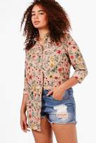 boohoo Plus Naomi Floral Print Longline Shirt