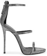 Giuseppe Zanotti Metallic Lizard-effect Leather Sandals - Silver