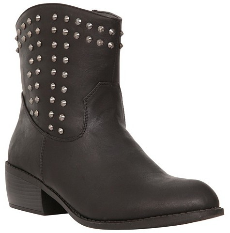 Tazanna Black Studded Booties (Wide Width)