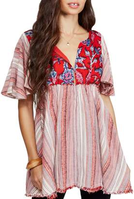 Free People Under The Sun Striped Cotton Blend Tunic