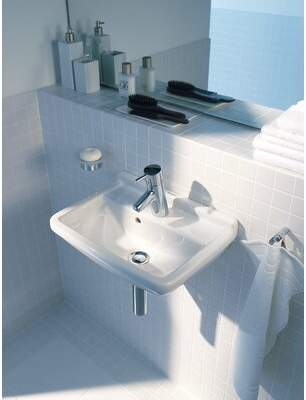 "Philippe Starck Duravit 3 Ceramic 24"" Wall Mount Bathroom Sink with Overflow Duravit Faucet Mount: Single"