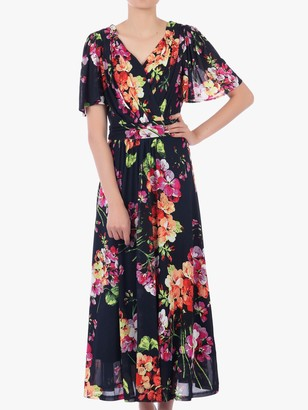 Jolie Moi Floral Print Mesh Maxi Dress, Navy/Multi