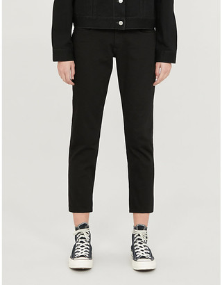 Rag & Bone Ladies Black Cotton Spotted Dre Slim-Fit Low Rise Boyfriend Jeans, Size: 23