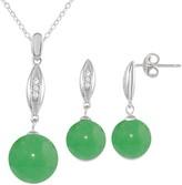 Onyx Cubic Zirconia 2-piece Earring & Pendant Necklace Set