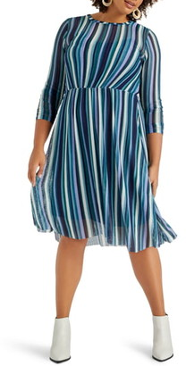 ELOQUII Stripe Mesh Dress