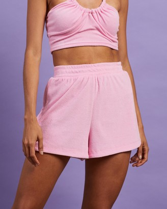 Dazie - Women's Pink High-Waisted - Britney's Back Terry Towelling Shorts - Size 6 at The Iconic