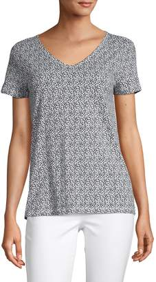 Lord & Taylor Printed Cotton Slub Tee