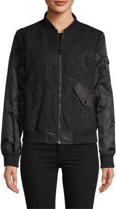 Karl Lagerfeld Paris Lace Bonded Bomber Jacket
