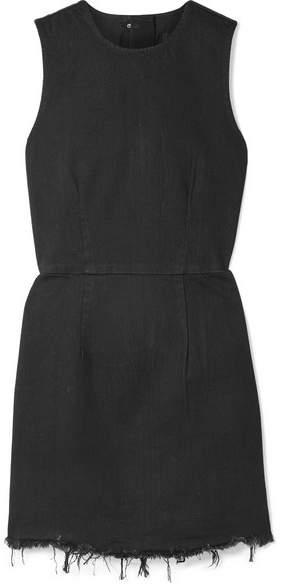 Alexander Wang Frayed Denim Mini Dress - Black