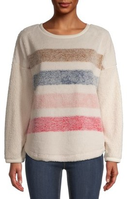 Time and Tru Women's Sherpa Crewneck Pullover