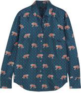 J.Crew Printed Silk-twill Shirt - Blue