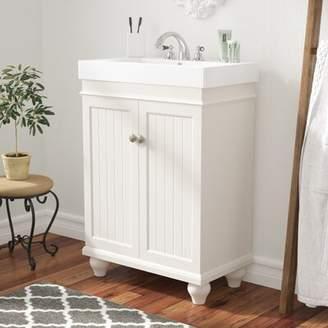 "Andover Mills Cosimo 24"" Single Bathroom Vanity Set Base Finish: Matte White"