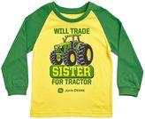 "John Deere Boys 4-7 Will Trade Sister For Tractor"" Colorblock Raglan Tee"