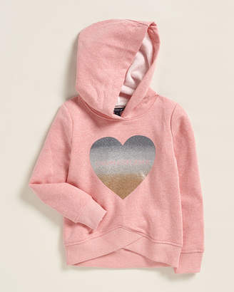 Calvin Klein Jeans Girls 4-6x) Glitter Heart Pullover Fleece Hoodie