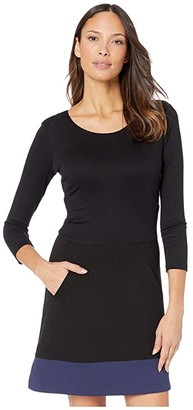 Nicole Miller Ponte Scoop Neck Dress (Black Navy) Women's Dress