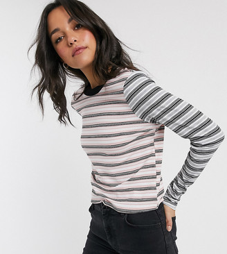 Brave Soul Tall daly long sleeve top in yarn dyed stripe