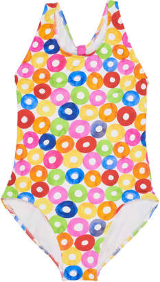 Florence Eiseman Multicolored Lifesaver-Print Cutout Back One-Piece Swimsuit, Size 7-14