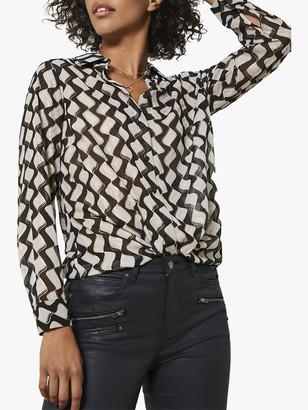 Mint Velvet Gianna Abstract Shirt, Black