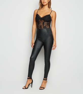 New Look Cameo Rose Coated Leather-Look Leggings