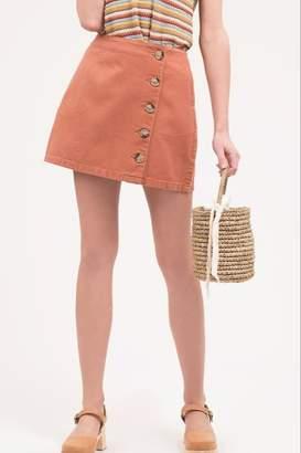 Blu Pepper Button Front Mini Skirt
