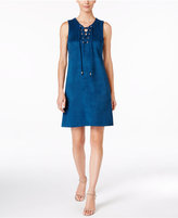 Sandra Darren Petite Lace-Up Faux-Suede Dress