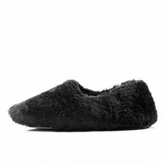 Athena Conti Women's Cozy Memory Foam Slippers Fluffy Furry Moccasin Birche Slides Ladies' Fuzzy House Shoes with Anti-Skid Soft Rubber Sole (7-8 M US