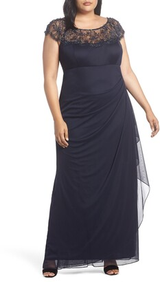 Xscape Evenings Ruched Side Beaded Column Gown