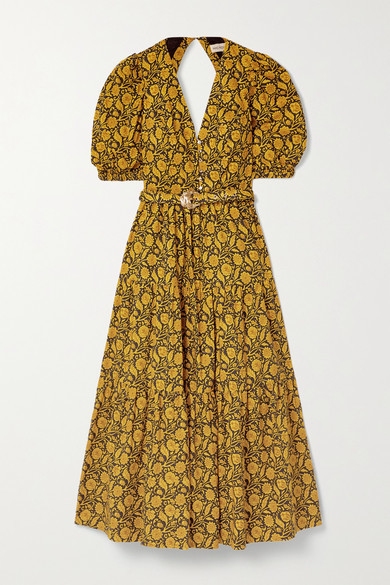 Nicholas Celie Tiered Printed Cotton-poplin Maxi Dress - Saffron