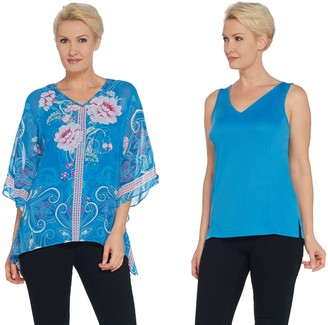 Belle By Kim Gravel Belle by Kim Gravel Floral Embellished Poncho and Tank
