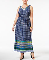 NY Collection Plus Size Beaded Printed Maxi Dress