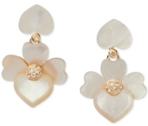 Kate Spade Gold-Tone Pave Flower Clip-On Drop Earrings