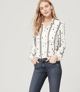 LOFT Dotted Plaid Utility Blouse