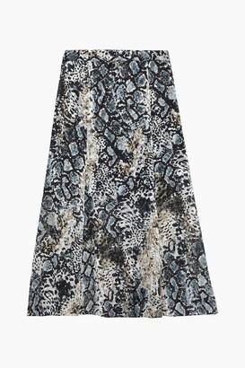 Alice + Olivia Athena Snake-print Burnout Crepe De Chine Midi Skirt