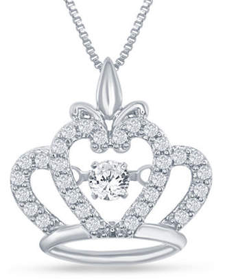 "Enchanted Disney Fine Jewelry 1/4 C.T. T.W. Genuine Diamond Sterling Silver ""Disney Princess"" Crown Pendant Necklace Family"
