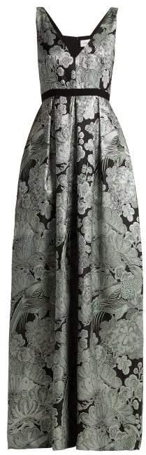 Erdem Ceren Floral Matelasse Gown - Womens - Black Print