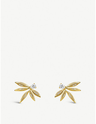 Thomas Sabo Magic Garden yellow gold-plated sterling silver leaf stud earrings