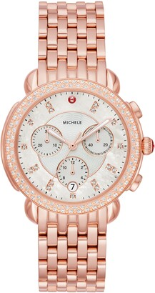 Michele Sidney 18 Chronograph Diamond Watch Head & Bracelet, 38mm