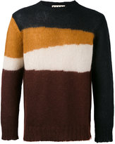 Marni stripe panel jumper - men - Mohair/Polyamide/Wool - 46