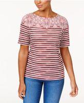 Karen Scott Mixed-Print Button-Detail T-Shirt, Only at Macy's