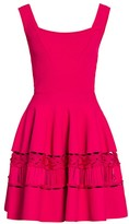 Alexander McQueen Lace Panel Fit-&-Flare Knit Dress