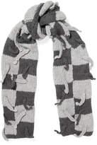 Loewe Embellished Checked Wool-blend Scarf