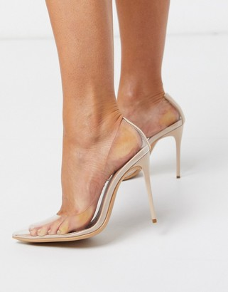 Truffle Collection pointed stiletto court shoes in clear