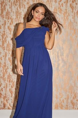 Little Mistress Bridesmaid Alessandra Navy Asymmetric Jewel-Trim Maxi Dress