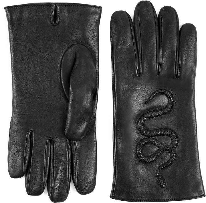Gucci Snake embossed leather gloves