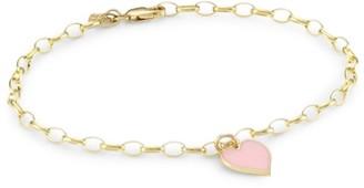 Sydney Evan 14K Yellow Gold & Enamel Heart Charm Link Bracelet
