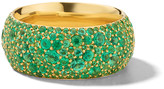 Ippolita 18K Stardust Organic Pave Wide Band Ring with Emeralds, Size 7
