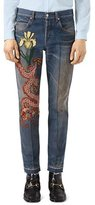 Gucci Tapered Jeans with Dragon Embroidery