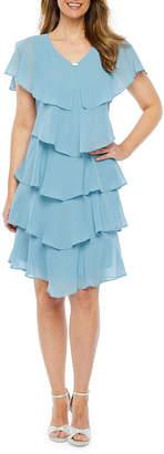 SL Fashions S. L. Fashions Short Sleeve Tiered Embellished Shift Dress