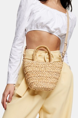 Topshop RHODES Mini Straw Weave Tote Bag